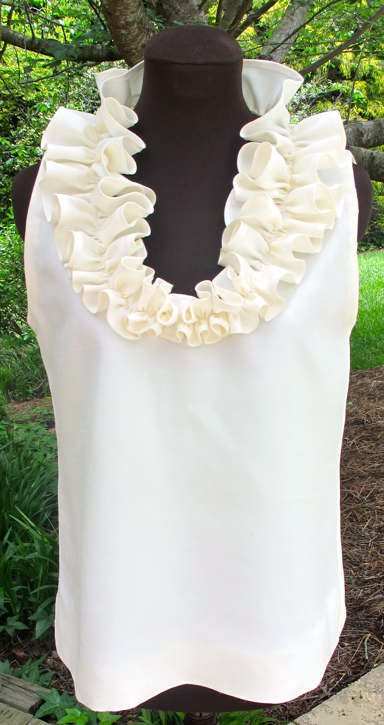 ivory silk ruffle top