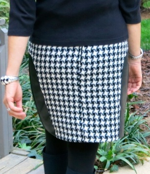 Skirt made from Mood Fabrics' houndstooth wool and repurposed leather; Vogue 8750.