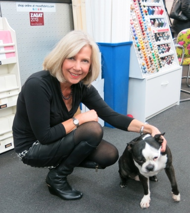 Sarah Gunn of Goodbye Valentino at Mood Fabrics with Swatch, the Mood Fabrics dog