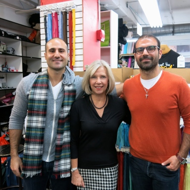 Sarah Gunn of Goodbye Valentino with Eric and Phil Sauma, Mood Fabrics owners