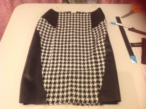Skirt made from Mood Fabrics' houndstooth wool and repurposed leather.