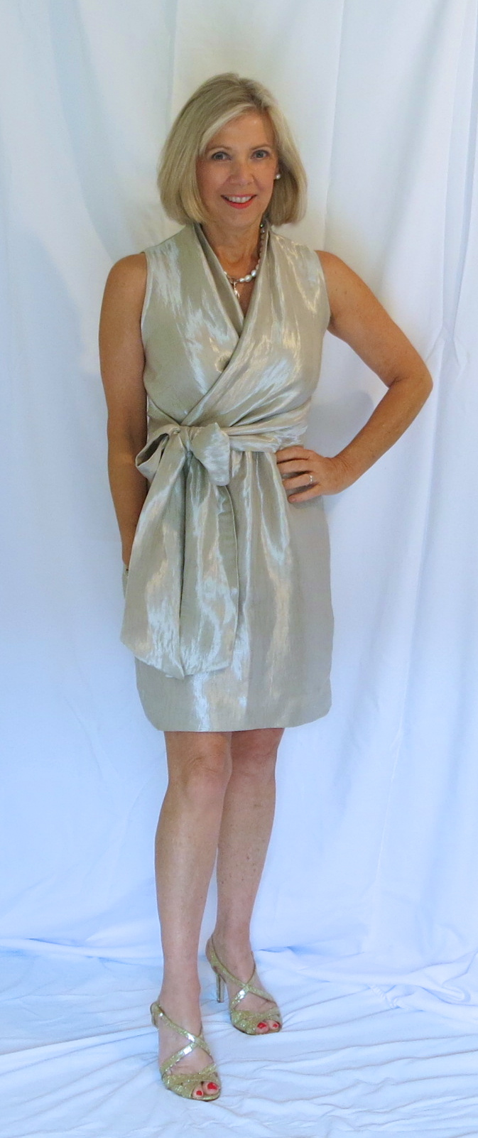 Party dress sewn with metallic silk blend from Mood Fabrics and Butterick 5850.
