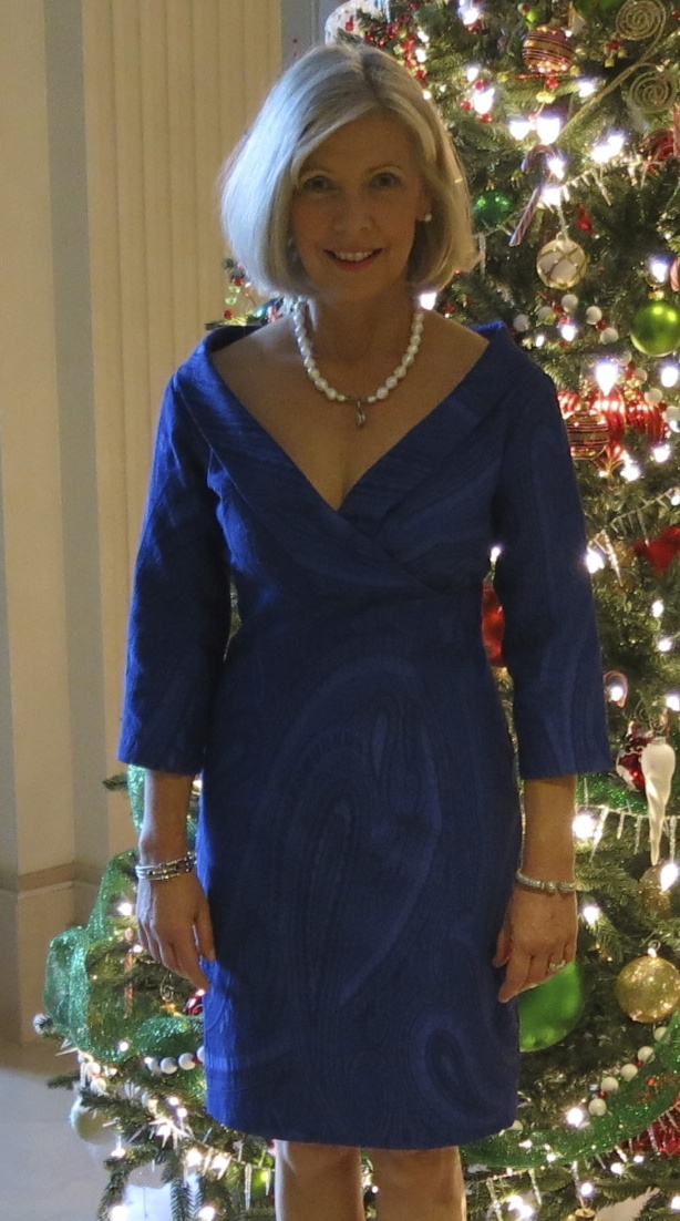 Party dress made with Carolina Herrera blue silk brocade from Mood Fabrics.