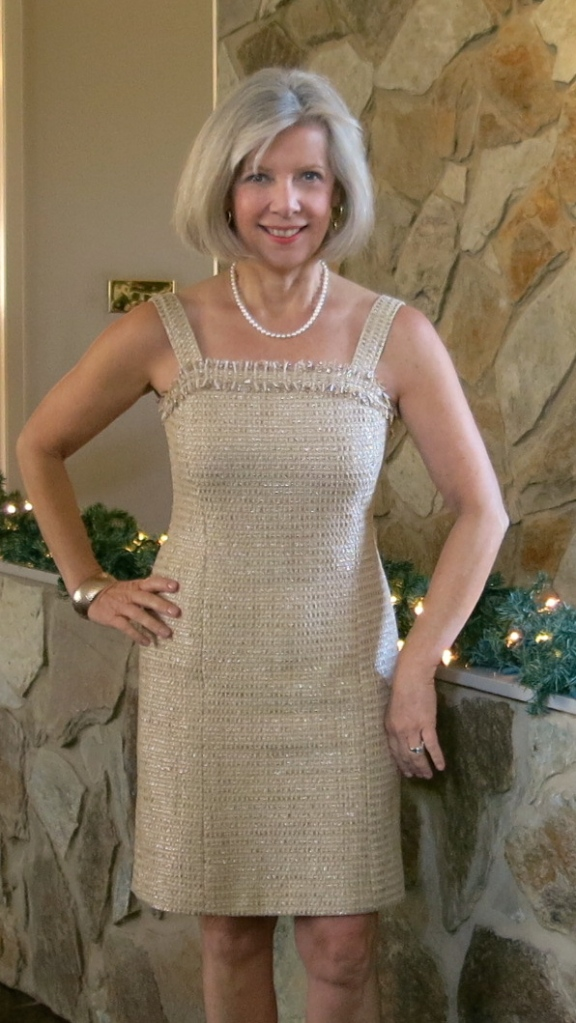 Dress made from metallic boucle from Mood Fabrics NYC and sewing pattern Butterick 5588.