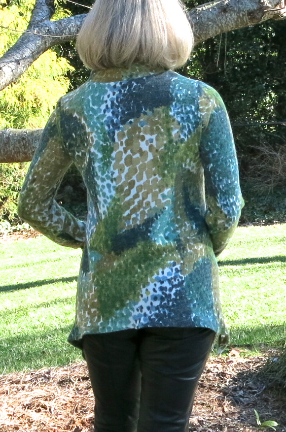 Cowl neck tunic made with Mood Fabrics' sweater knit print and a Style Arc pattern, sewn by Goodbye Valentino.