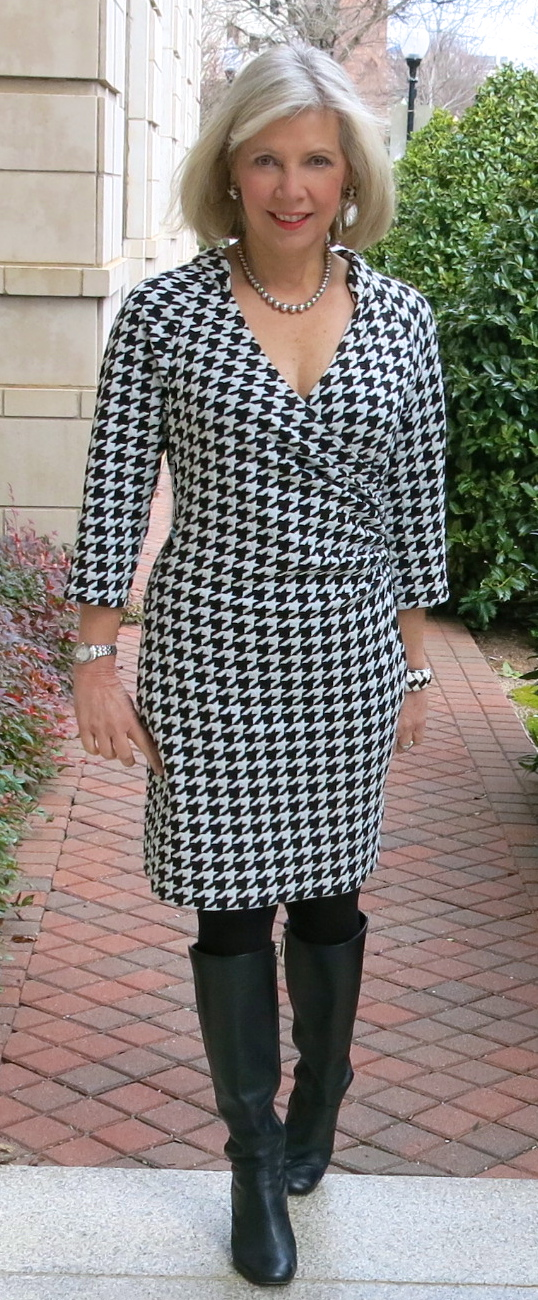 Faux wrap dress made from Mood Fabrics' houndstooth sweater-knit jersey.