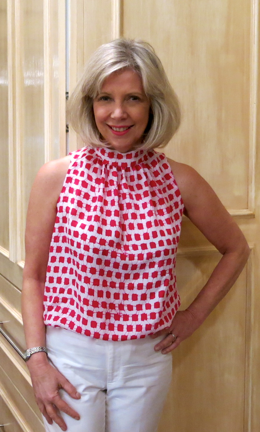 Sleeveless tops made with designer silk crepe de chine from Mood Fabrics and a Marfy pattern.