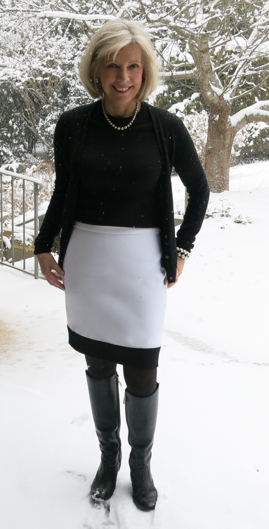 Colorblocked pencil skirt made with Italian wool crepe from Mood Fabrics.